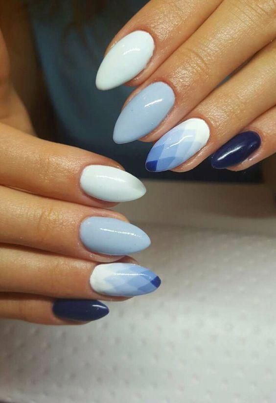Geometryczne ombre na paznokciach